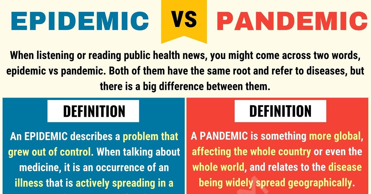 The different between epidemic and pandemic